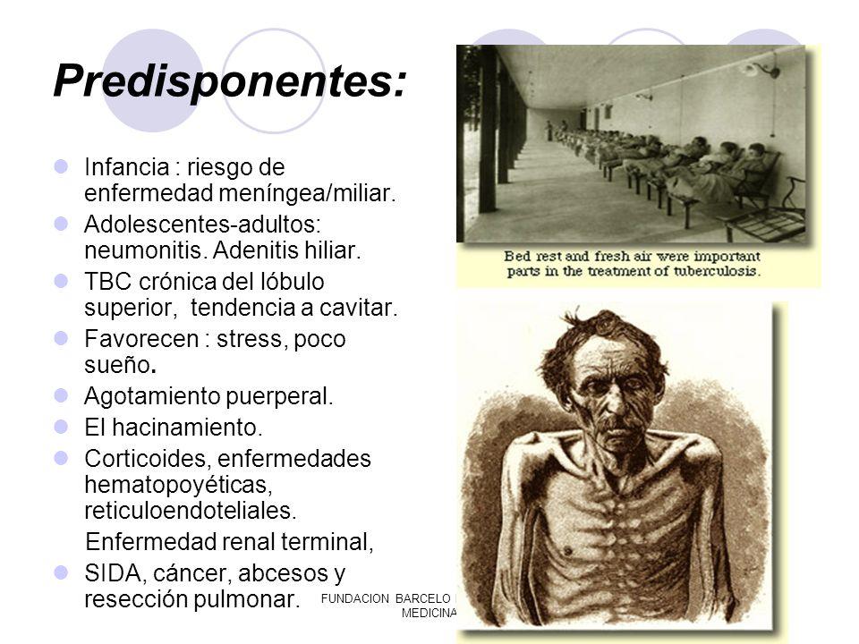 FUNDACION BARCELO FACULTAD DE MEDICINA Predisponentes: Infancia : riesgo de enfermedad meníngea/miliar. Adolescentes-adultos: neumonitis. Adenitis hil
