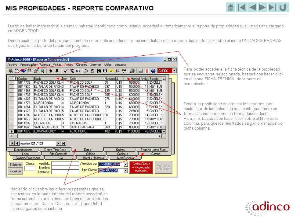 MIS PROPIEDADES - REPORTE COMPARATIVO Luego de haber ingresado al sistema y haberse identificado como usuario, accederá automáticamente al reporte de