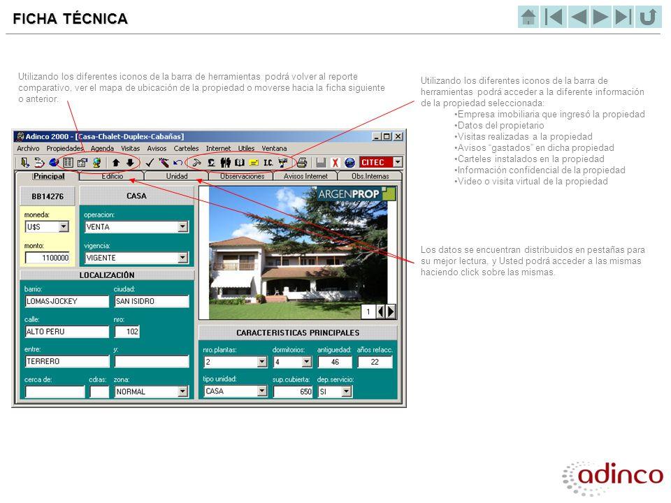 Haciendo click sobre el icono EMPRESA INMOBILIARIA, accederá a los datos de la empresa que ingresó la propiedad al sistema EMPRESA INMOBILIARIA Tendrá la posibilidad incluso, de enviar un mail a la empresa inmobiliaria en forma automática.