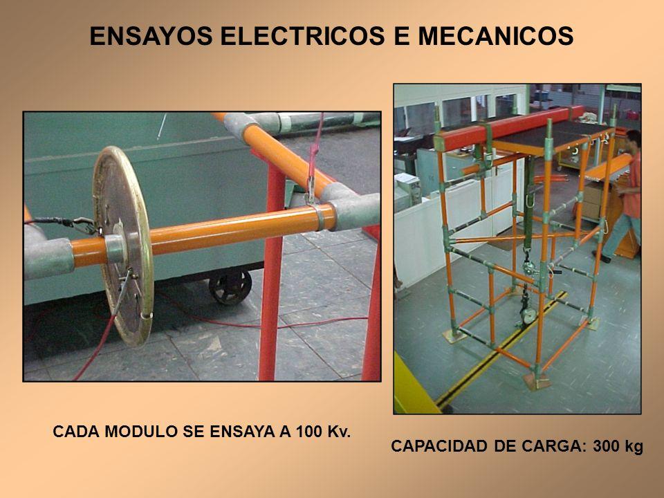 CADA MODULO SE ENSAYA A 100 Kv. CAPACIDAD DE CARGA: 300 kg ENSAYOS ELECTRICOS E MECANICOS