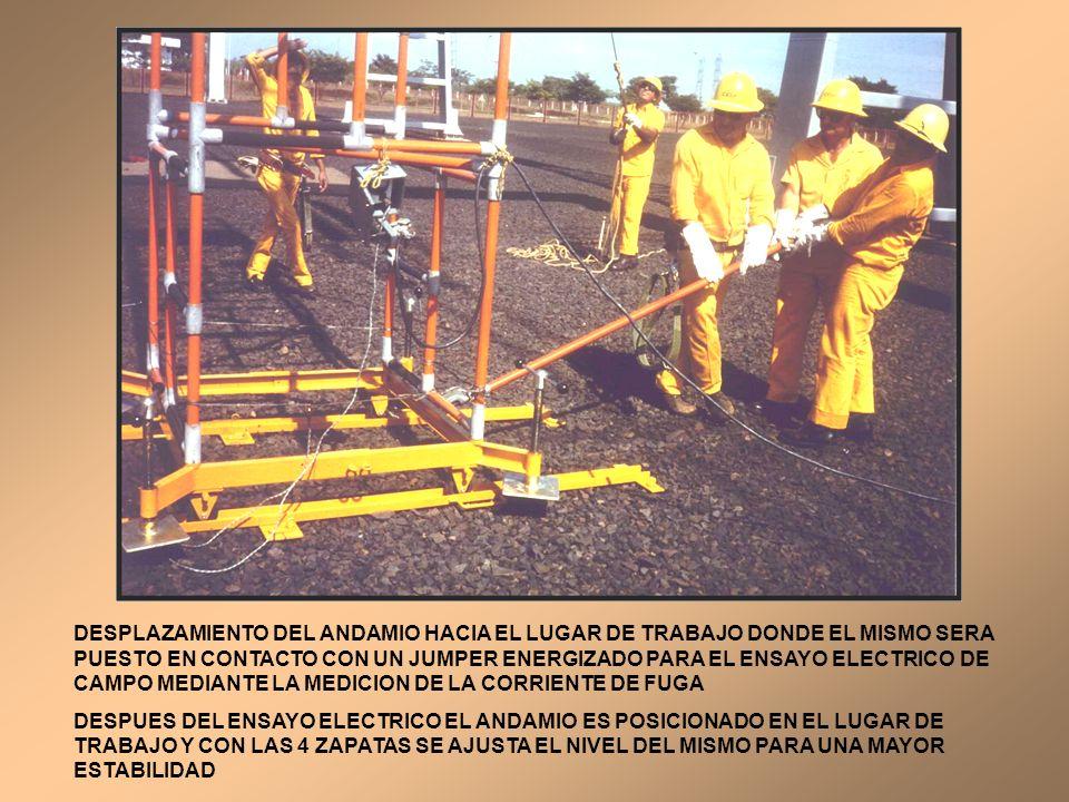 DESPLAZAMIENTO DEL ANDAMIO HACIA EL LUGAR DE TRABAJO DONDE EL MISMO SERA PUESTO EN CONTACTO CON UN JUMPER ENERGIZADO PARA EL ENSAYO ELECTRICO DE CAMPO