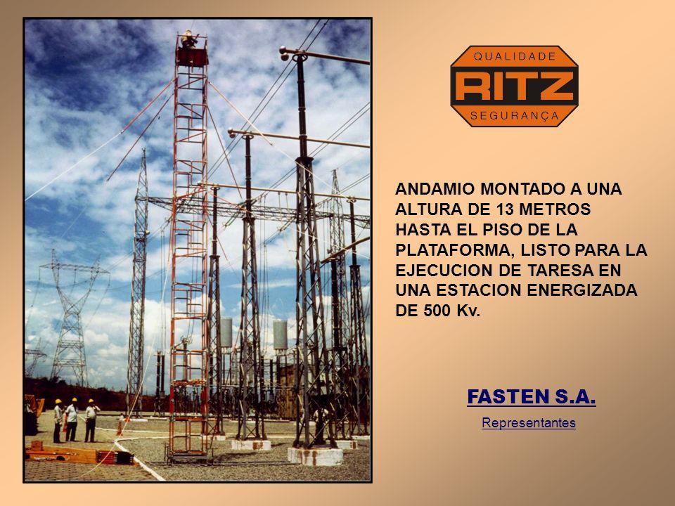 ANDAMIO AiSLADO ARMADO CON LA NUEVA PLATAFORMA DE 2 m 2 EN USO EN UNA SUBESTACION DE 69 Kv.