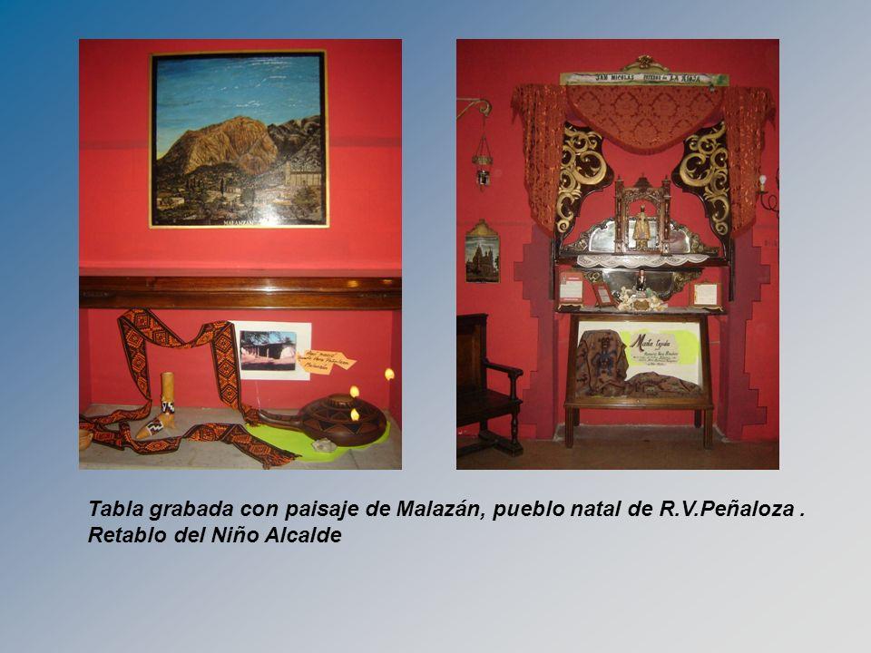 Tabla grabada con paisaje de Malazán, pueblo natal de R.V.Peñaloza. Retablo del Niño Alcalde