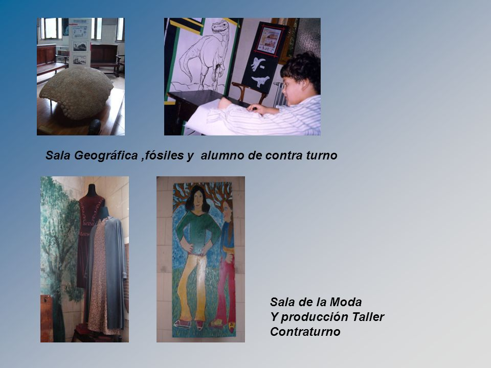 Sala Geográfica,fósiles y alumno de contra turno Sala de la Moda Y producción Taller Contraturno