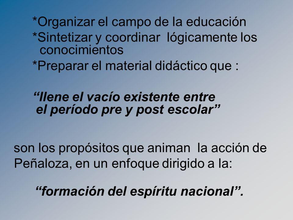 *Organizar el campo de la educación *Sintetizar y coordinar lógicamente los conocimientos *Preparar el material didáctico que : llene el vacío existen
