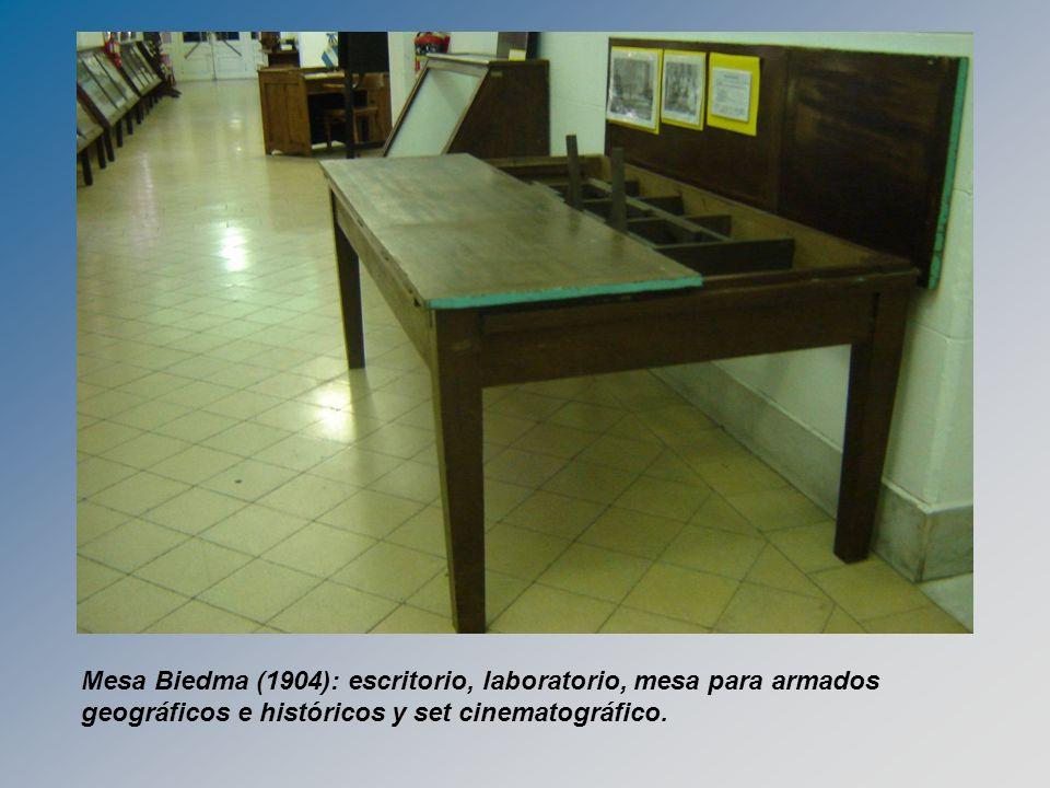 Mesa Biedma (1904): escritorio, laboratorio, mesa para armados geográficos e históricos y set cinematográfico.