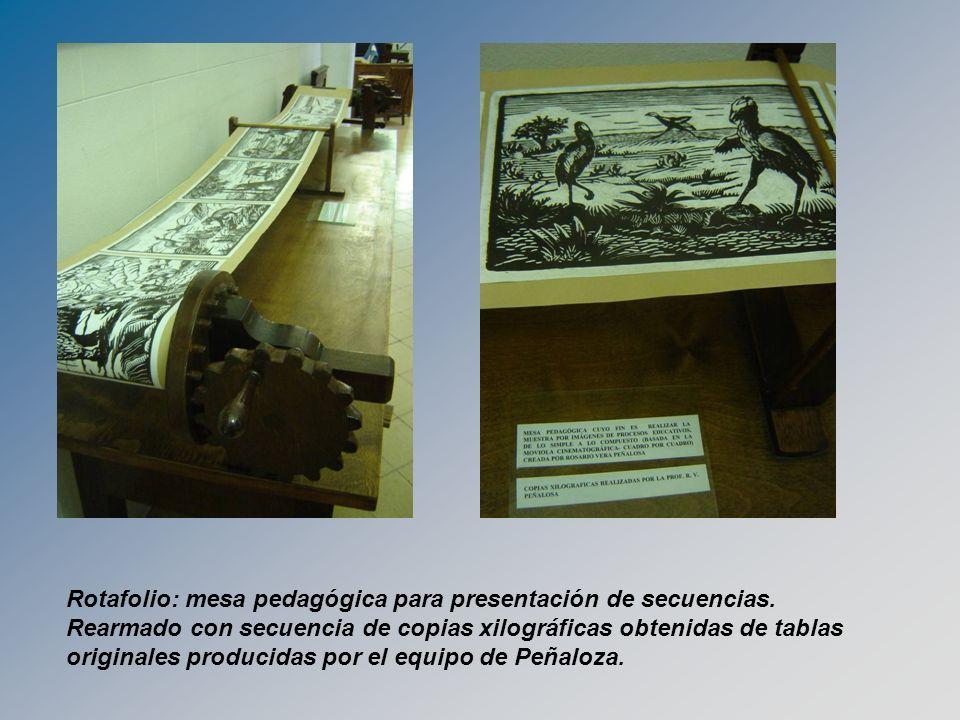Rotafolio: mesa pedagógica para presentación de secuencias. Rearmado con secuencia de copias xilográficas obtenidas de tablas originales producidas po