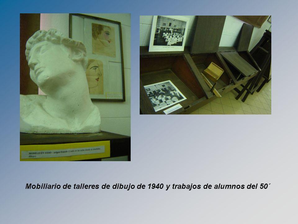 Mobiliario de talleres de dibujo de 1940 y trabajos de alumnos del 50´