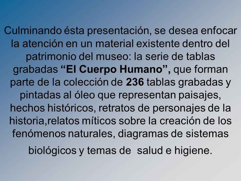 Culminando ésta presentación, se desea enfocar la atención en un material existente dentro del patrimonio del museo: la serie de tablas grabadas El Cu