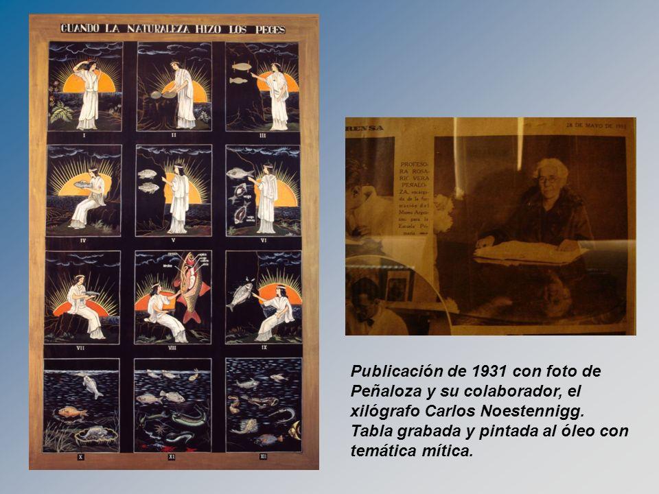 Publicación de 1931 con foto de Peñaloza y su colaborador, el xilógrafo Carlos Noestennigg. Tabla grabada y pintada al óleo con temática mítica.