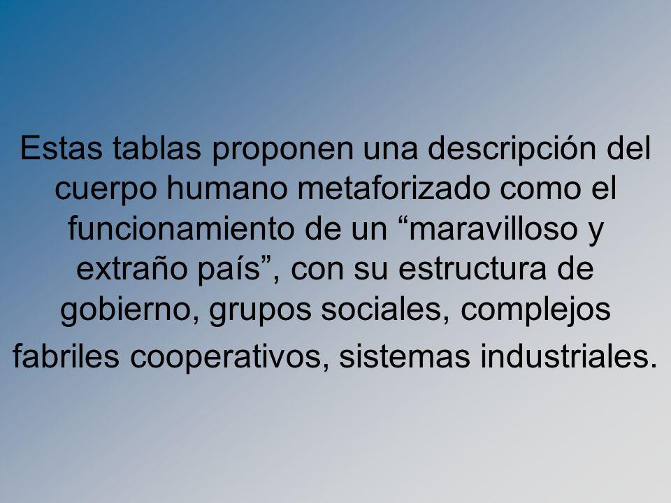 Estas tablas proponen una descripción del cuerpo humano metaforizado como el funcionamiento de un maravilloso y extraño país, con su estructura de gob