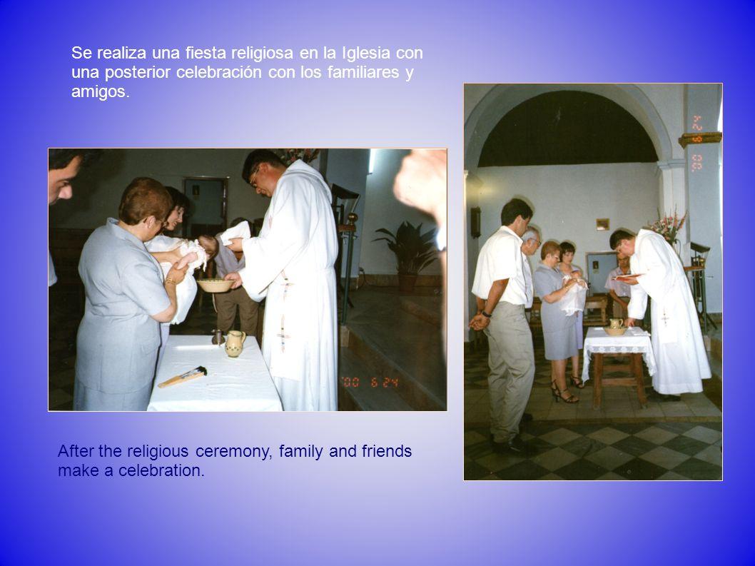 Se realiza una fiesta religiosa en la Iglesia con una posterior celebración con los familiares y amigos. After the religious ceremony, family and frie