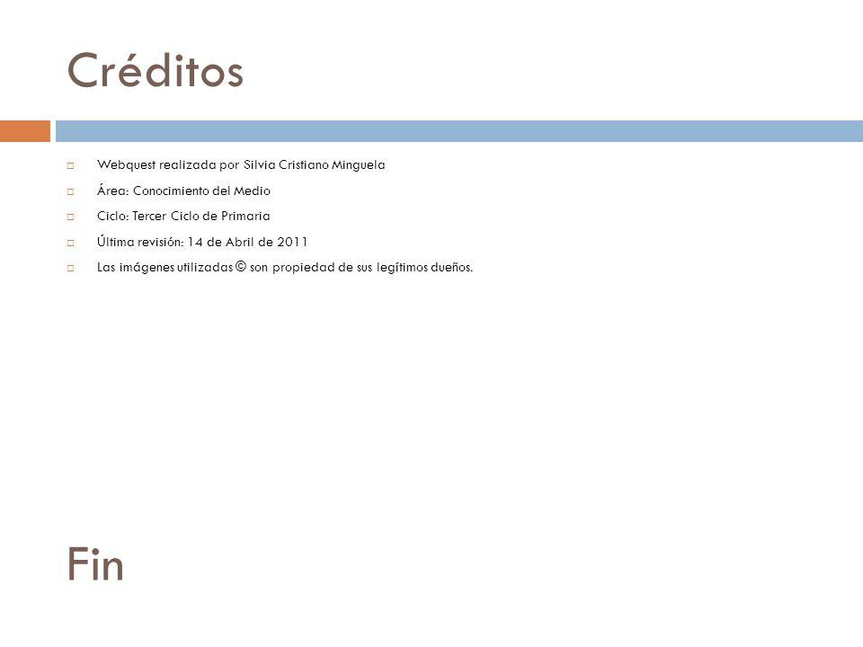 Créditos Webquest realizada por Silvia Cristiano Minguela Área: Conocimiento del Medio Ciclo: Tercer Ciclo de Primaria Última revisión: 14 de Abril de