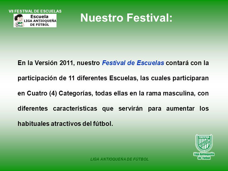 VII FESTIVAL DE ESCUELAS LIGA ANTIOQUEÑA DE FÚTBOL En la Versión 2011, nuestro Festival de Escuelas contará con la participación de 11 diferentes Escu