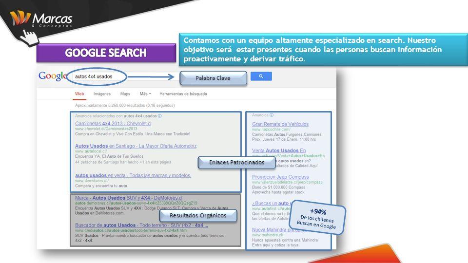 Palabra Clave +94% De los chilenos Buscan en Google Enlaces Patrocinados Resultados Orgánicos Contamos con un equipo altamente especializado en search.