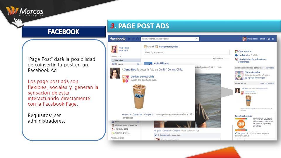 Page Post dará la posibilidad de coinvertir tu post en un Facebook Ad.