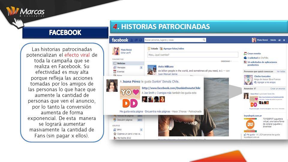 Las historias patrocinadas potencializan el efecto viral de toda la campaña que se realiza en Facebook.