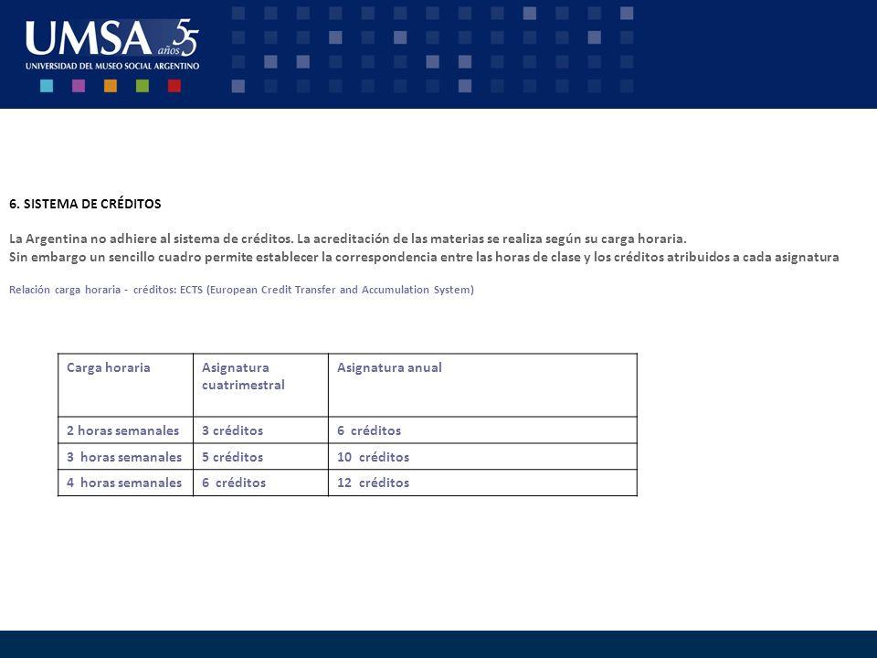 6. SISTEMA DE CRÉDITOS La Argentina no adhiere al sistema de créditos. La acreditación de las materias se realiza según su carga horaria. Sin embargo