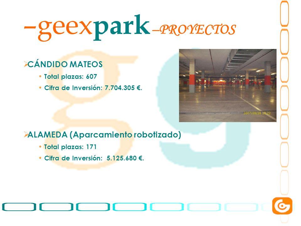 2 –g–geex park –P–PROYECTOS CÁNDIDO MATEOS Total plazas: 607 Cifra de Inversión: 7.704.305. ALAMEDA (Aparcamiento robotizado) Total plazas: 171 Cifra