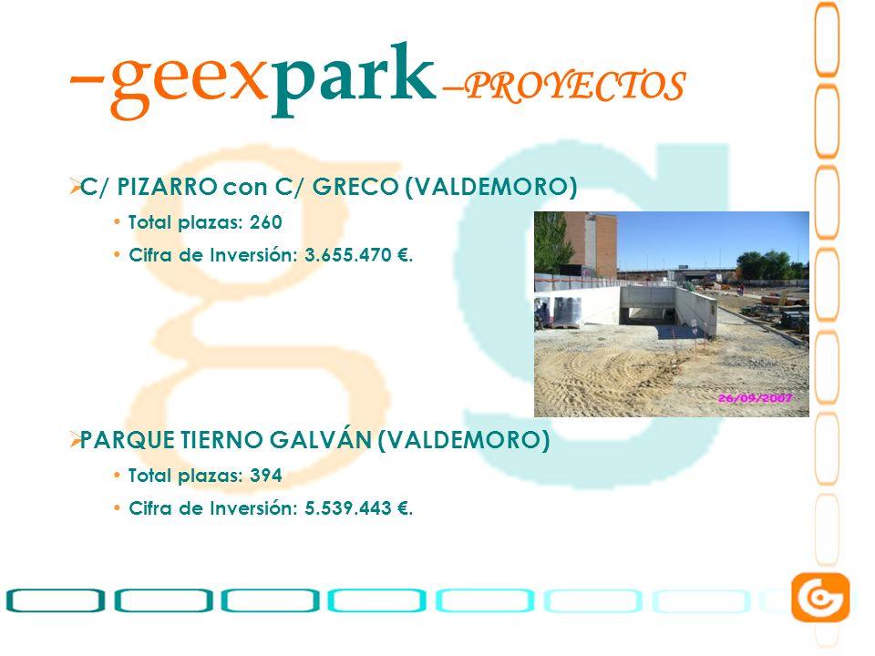 3 –geex park –PROYECTOS C/ PIZARRO con C/ GRECO (VALDEMORO) Total plazas: 260 Cifra de Inversión: 3.655.470. PARQUE TIERNO GALVÁN (VALDEMORO) Total pl