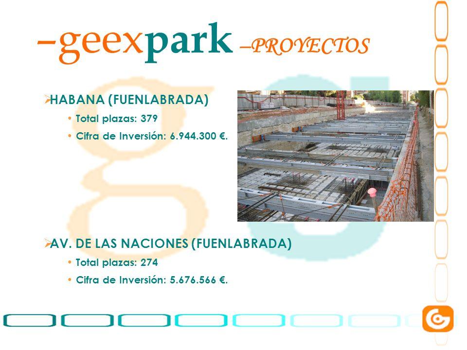 4 –geex park HABANA (FUENLABRADA) Total plazas: 379 Cifra de Inversión: 6.944.300. AV. DE LAS NACIONES (FUENLABRADA) Total plazas: 274 Cifra de Invers