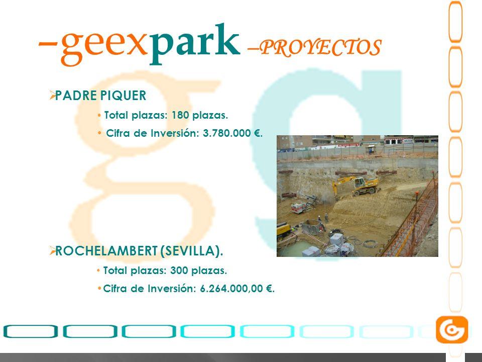 5 –geex park PADRE PIQUER Total plazas: 180 plazas. Cifra de Inversión: 3.780.000. ROCHELAMBERT (SEVILLA). Total plazas: 300 plazas. Cifra de Inversió