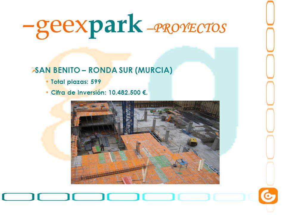 6 –geex park SAN BENITO – RONDA SUR (MURCIA) Total plazas: 599 Cifra de Inversión: 10.482.500. –PROYECTOS