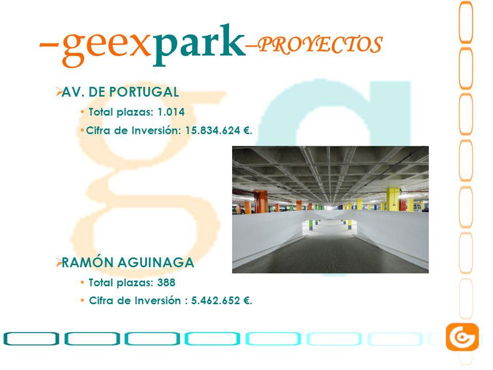 7 –geex park AV. DE PORTUGAL Total plazas: 1.014 Cifra de Inversión: 15.834.624. RAMÓN AGUINAGA Total plazas: 388 Cifra de Inversión : 5.462.652. –PRO
