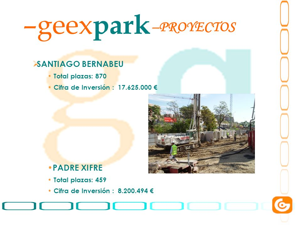 8 –geex park SANTIAGO BERNABEU Total plazas: 870 Cifra de Inversión : 17.625.000 PADRE XIFRE Total plazas: 459 Cifra de Inversión : 8.200.494 –PROYECT