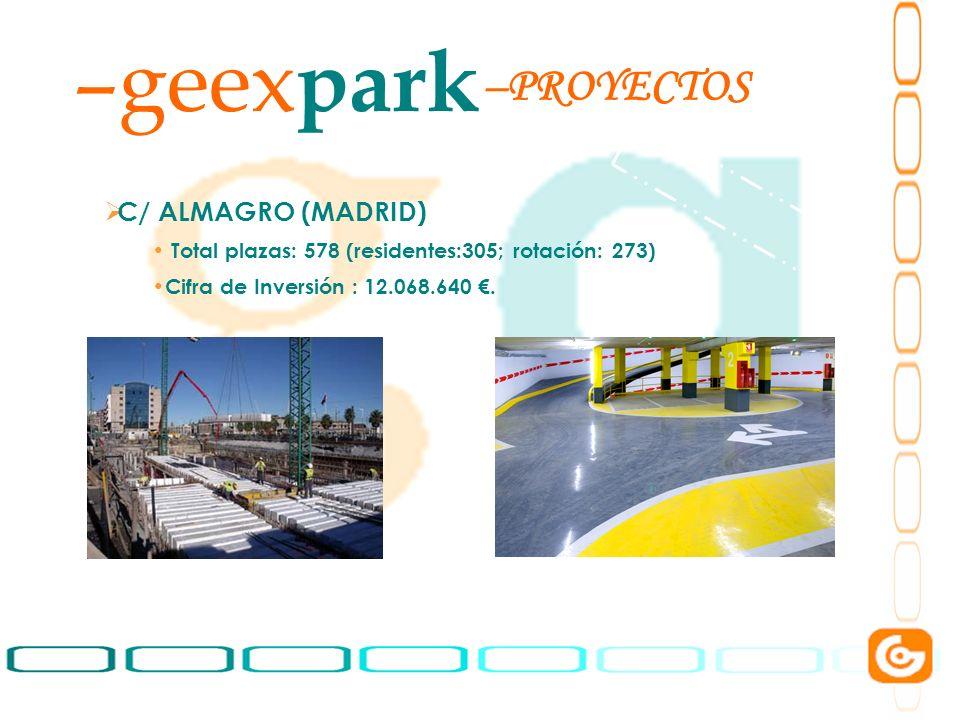 9 –geex park C/ ALMAGRO (MADRID) Total plazas: 578 (residentes:305; rotación: 273) Cifra de Inversión : 12.068.640. –PROYECTOS