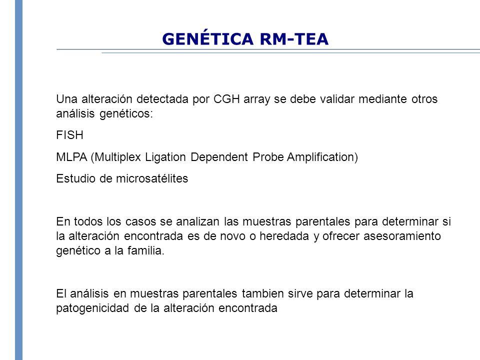 GENÉTICA RM-TEA Una alteración detectada por CGH array se debe validar mediante otros análisis genéticos: FISH MLPA (Multiplex Ligation Dependent Prob