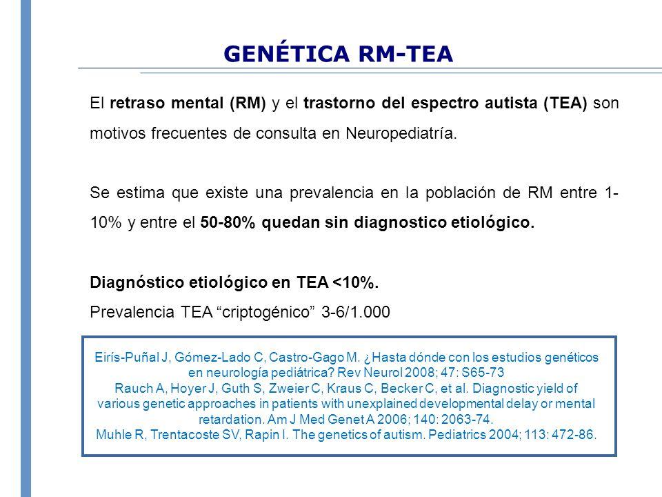 GENÉTICA RM-TEA El retraso mental (RM) y el trastorno del espectro autista (TEA) son motivos frecuentes de consulta en Neuropediatría. Se estima que e