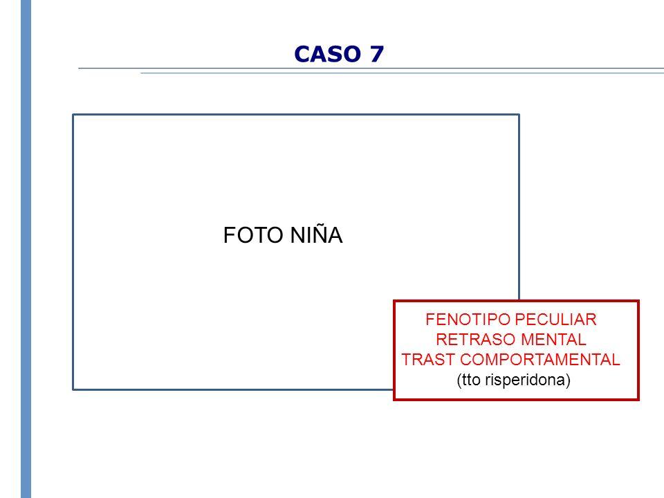 CASO 7 FENOTIPO PECULIAR RETRASO MENTAL TRAST COMPORTAMENTAL (tto risperidona) FOTO NIÑA
