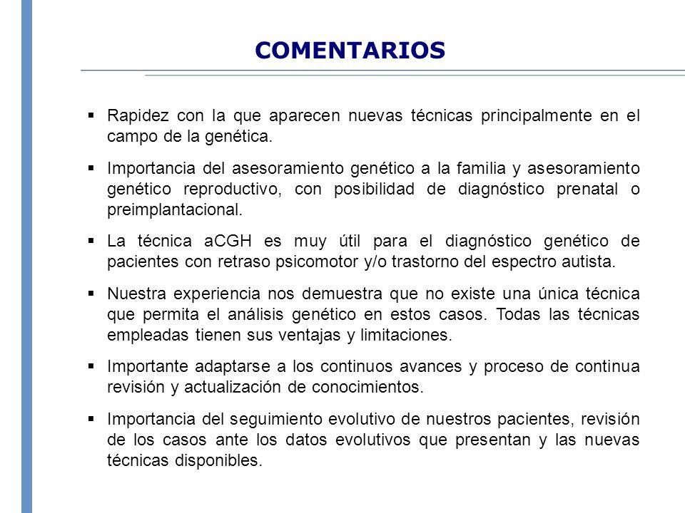 COMENTARIOS Rapidez con la que aparecen nuevas técnicas principalmente en el campo de la genética. Importancia del asesoramiento genético a la familia