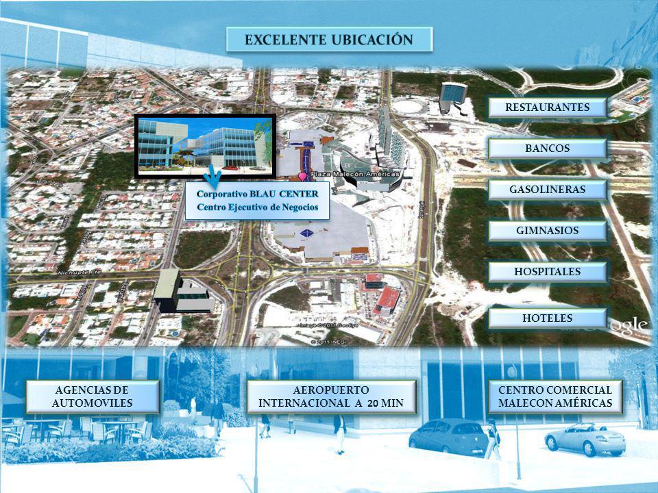 CENTRO COMERCIAL MALECON AMÉRICAS AGENCIAS DE AUTOMOVILES AEROPUERTO INTERNACIONAL A 20 MIN HOTELES HOSPITALES GIMNASIOS GASOLINERAS BANCOS RESTAURANT