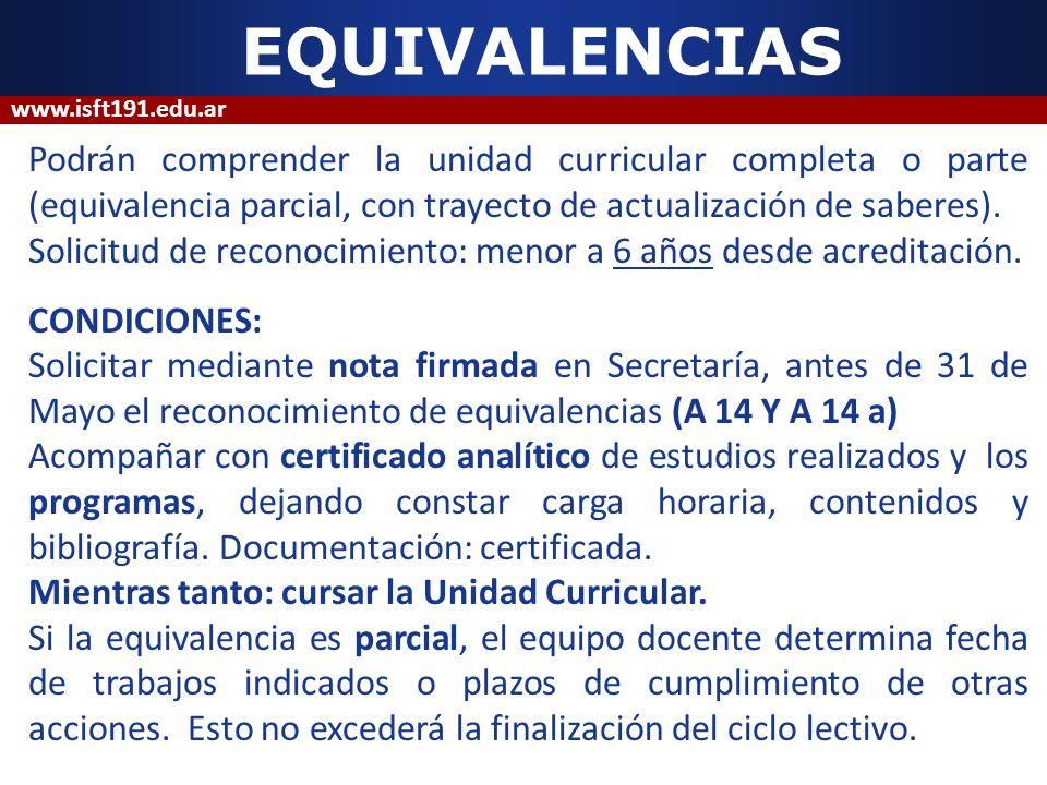 EQUIVALENCIAS Podrán comprender la unidad curricular completa o parte (equivalencia parcial, con trayecto de actualización de saberes). Solicitud de r