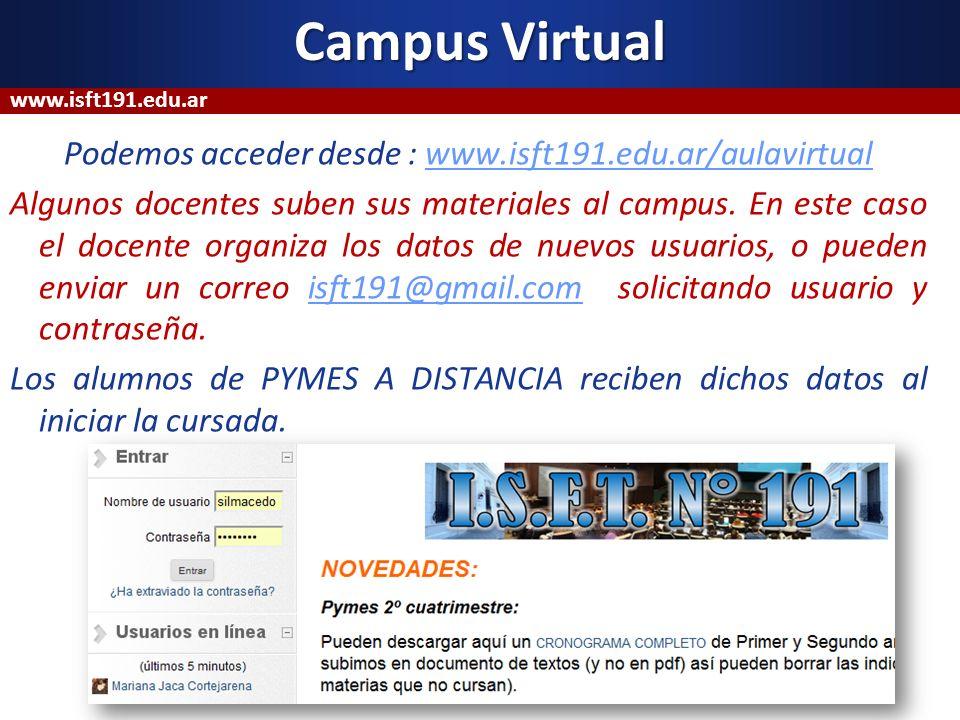 Podemos acceder desde : www.isft191.edu.ar/aulavirtualwww.isft191.edu.ar/aulavirtual Algunos docentes suben sus materiales al campus. En este caso el