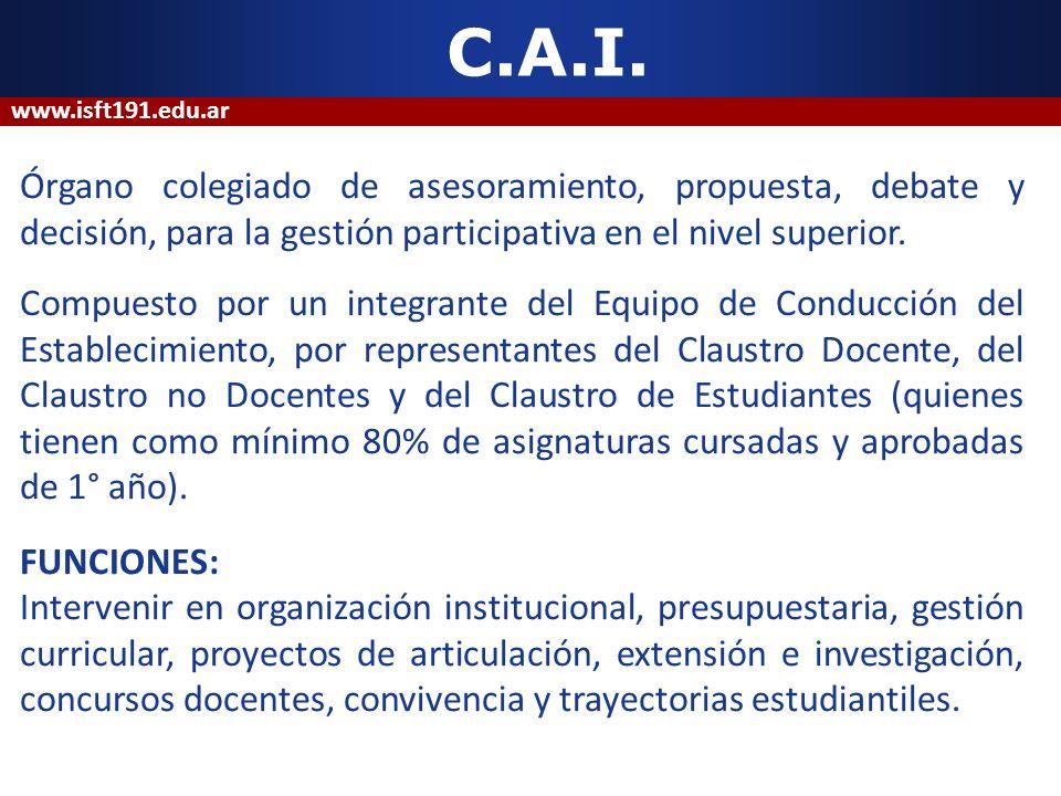 C.A.I. Órgano colegiado de asesoramiento, propuesta, debate y decisión, para la gestión participativa en el nivel superior. Compuesto por un integrant