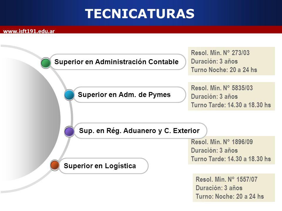 Resol. Min. N° 273/03 Duración: 3 años Turno Noche: 20 a 24 hs www.isft191.edu.ar TECNICATURAS Superior en Administración Contable Resol. Min. N° 5835