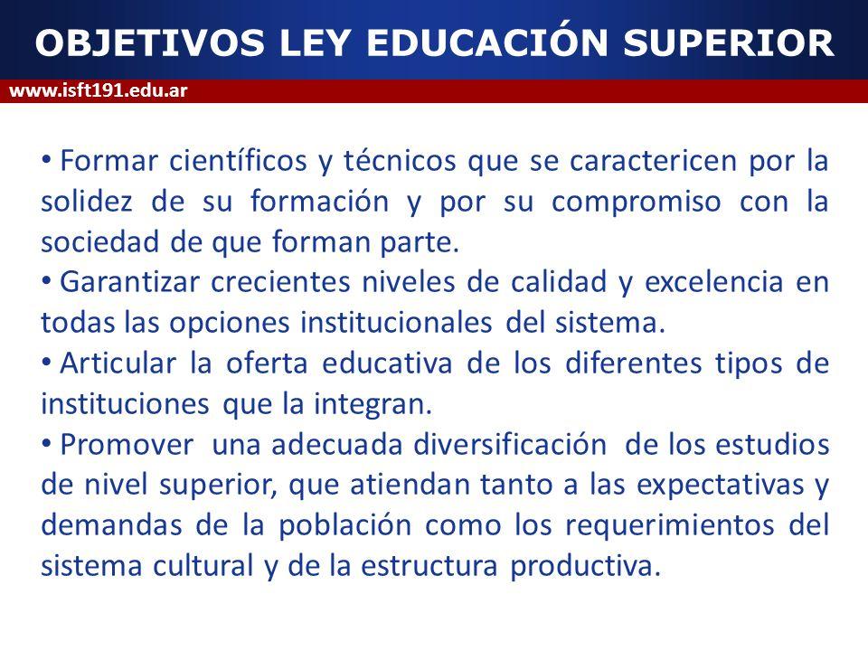 OBJETIVOS LEY EDUCACIÓN SUPERIOR Formar científicos y técnicos que se caractericen por la solidez de su formación y por su compromiso con la sociedad