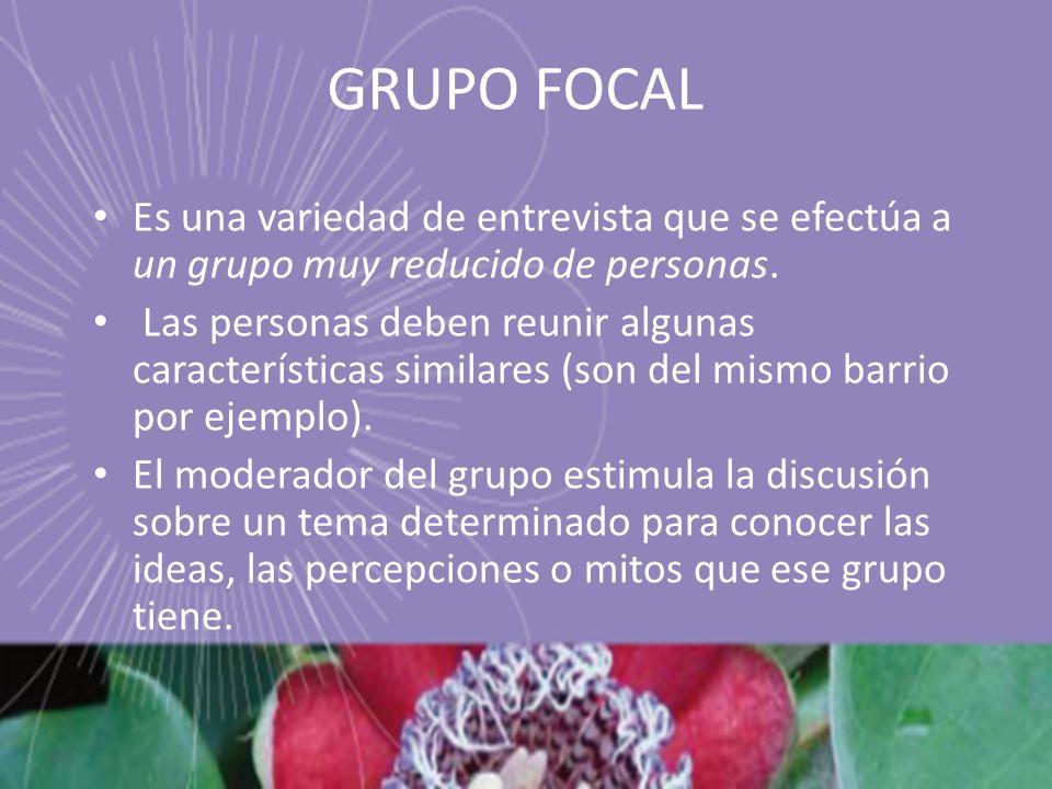 GRUPO FOCAL Es una variedad de entrevista que se efectúa a un grupo muy reducido de personas. Las personas deben reunir algunas características simila