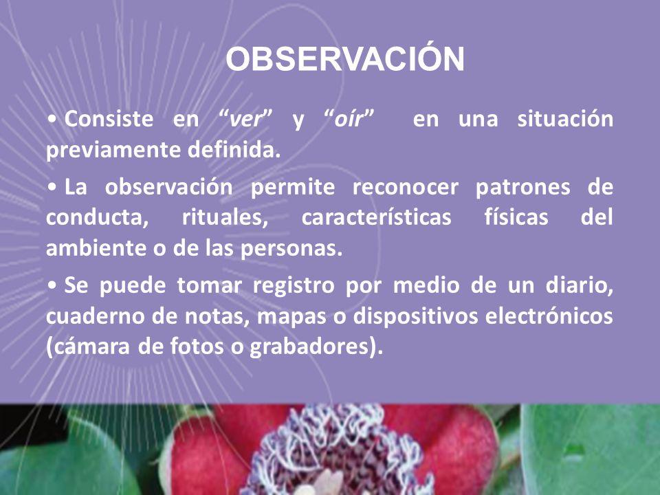 Consiste en ver y oír en una situación previamente definida. La observación permite reconocer patrones de conducta, rituales, características físicas