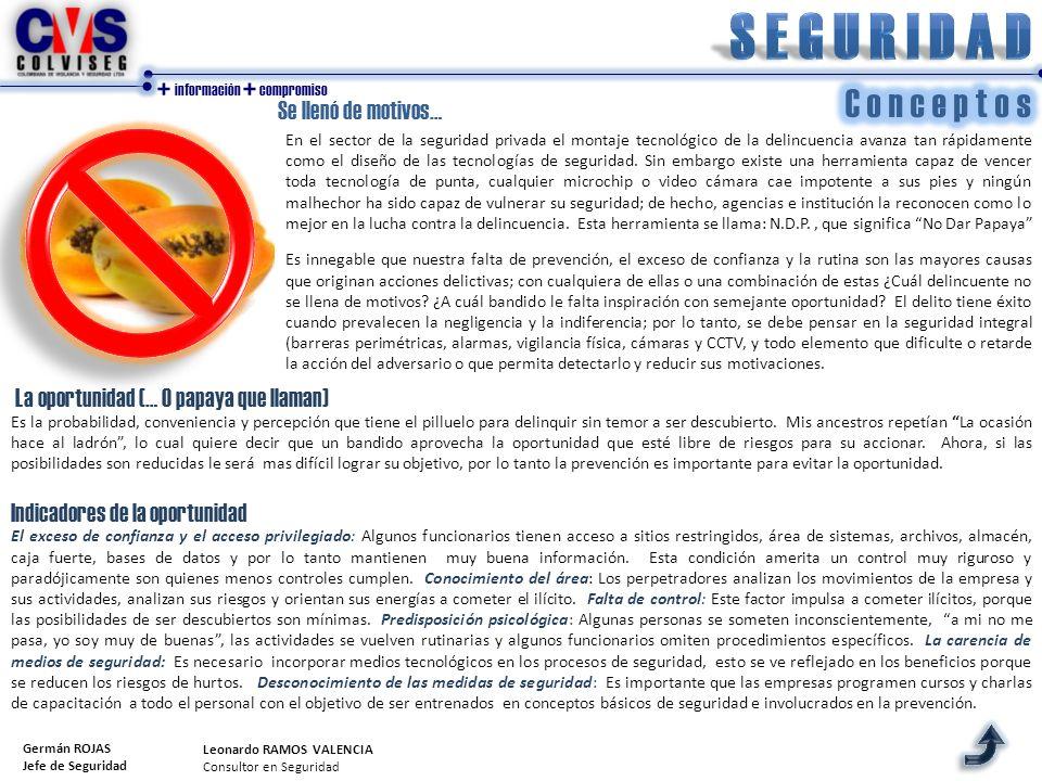 + información + compromiso Se llenó de motivos… Germán ROJAS Jefe de Seguridad En el sector de la seguridad privada el montaje tecnológico de la delin