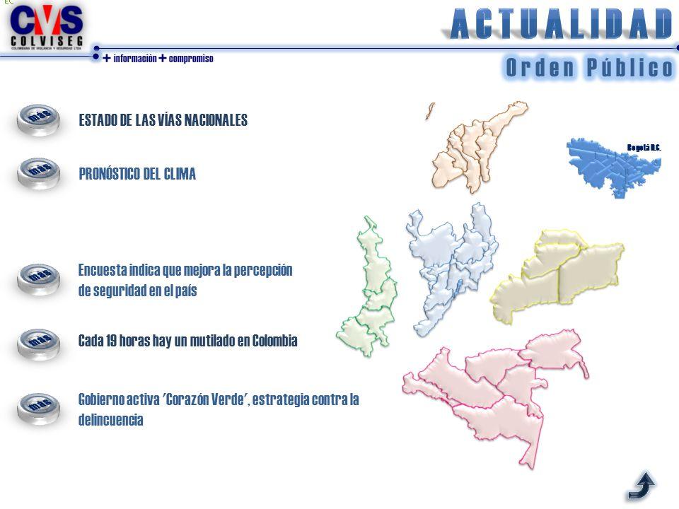 + información + compromiso ESTADO DE LAS VÍAS NACIONALES PRONÓSTICO DEL CLIMA Bogotá D.C. Encuesta indica que mejora la percepción de seguridad en el