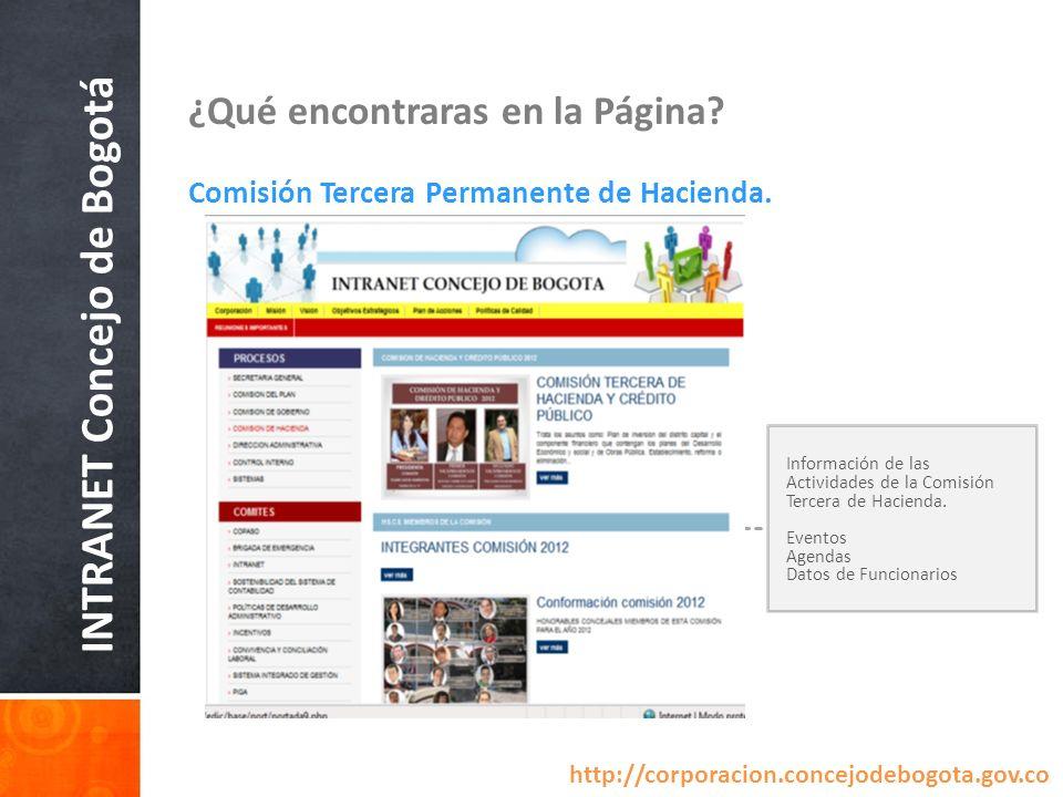 INTRANET Concejo de Bogotá ¿Qué encontraras en la Página? Comisión Tercera Permanente de Hacienda. Información de las Actividades de la Comisión Terce