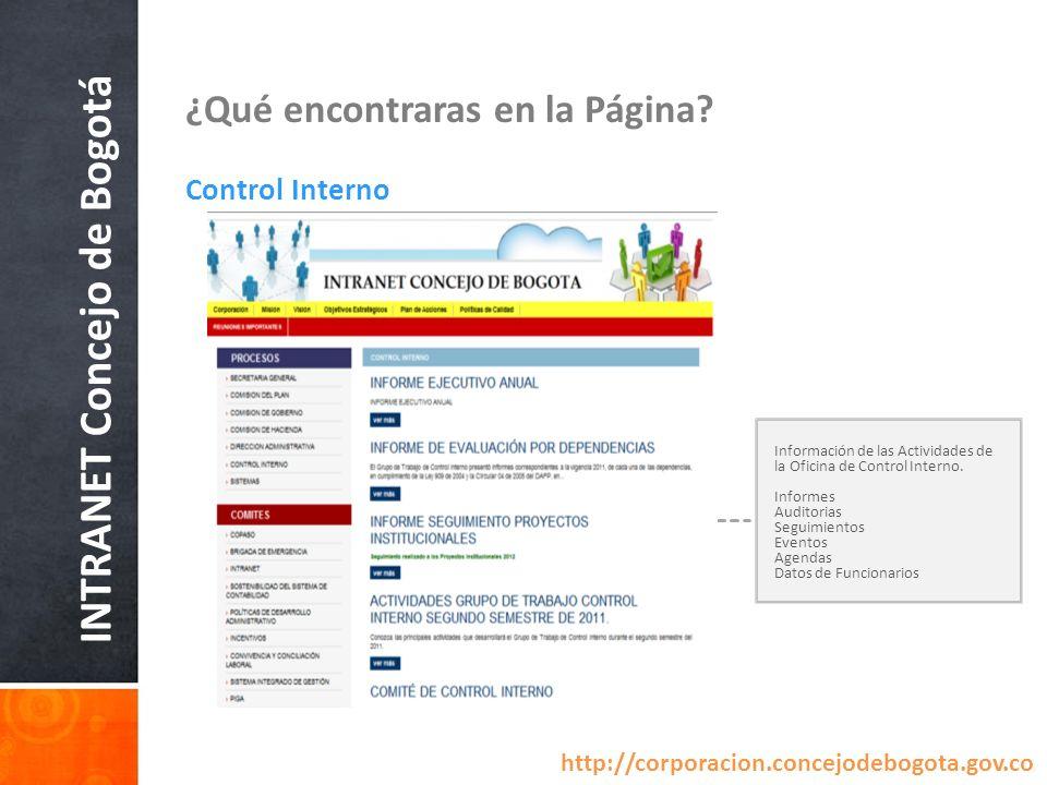 INTRANET Concejo de Bogotá ¿Qué encontraras en la Página? Control Interno Información de las Actividades de la Oficina de Control Interno. Informes Au
