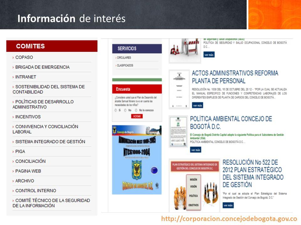 Información de interés http://corporacion.concejodebogota.gov.co /