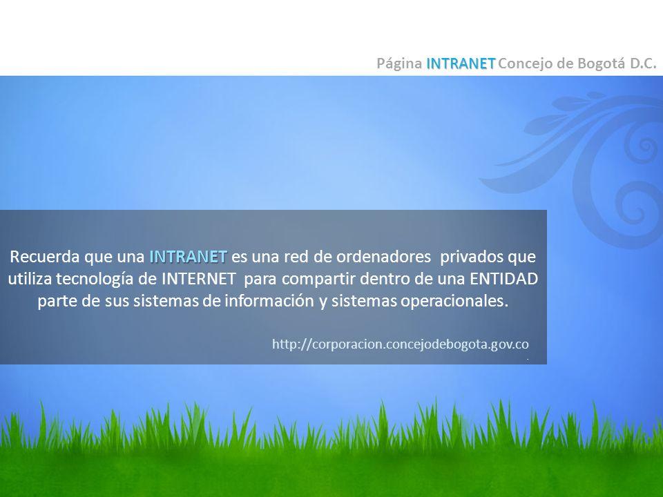 INTRANET Recuerda que una INTRANET es una red de ordenadores privados que utiliza tecnología de INTERNET para compartir dentro de una ENTIDAD parte de