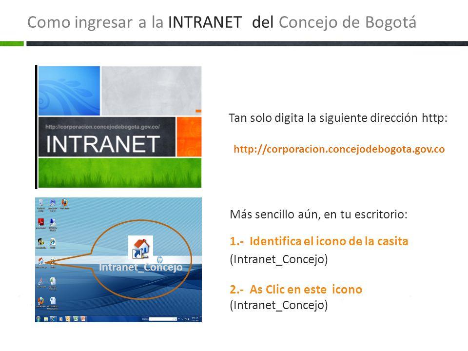 Más sencillo aún, en tu escritorio: 1.- Identifica el icono de la casita (Intranet_Concejo) 2.- As Clic en este icono (Intranet_Concejo) Tan solo digi