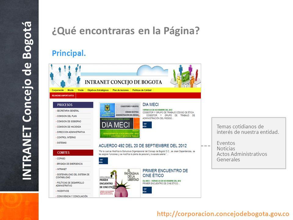 INTRANET Concejo de Bogotá ¿Qué encontraras en la Página? Principal. Temas cotidianos de interés de nuestra entidad. Eventos Noticias Actos Administra
